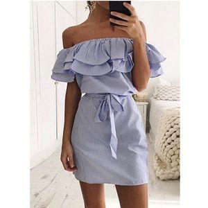 Off Shoulder Striped Ruffles Mini Chic Dress